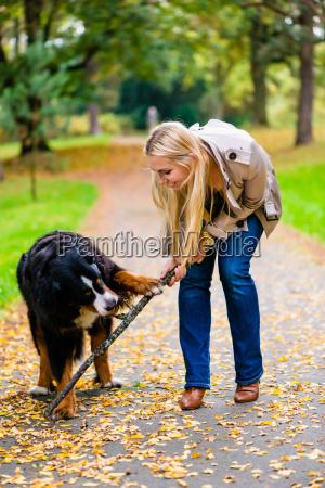mujer y perro mientras apportar palo