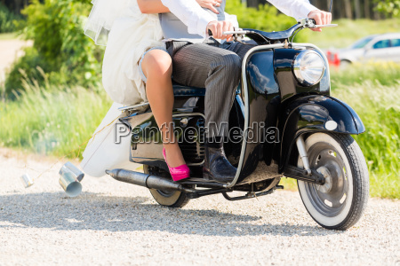 pares de la boda scooter de