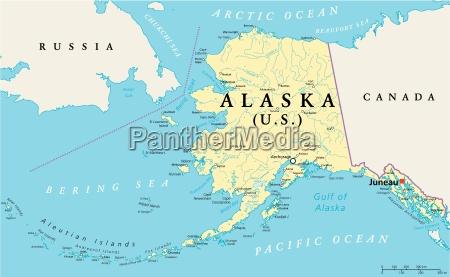 mapa politico de alaska