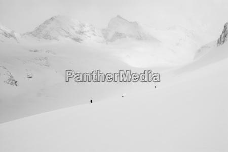 un grupo de esquiadores de travesia