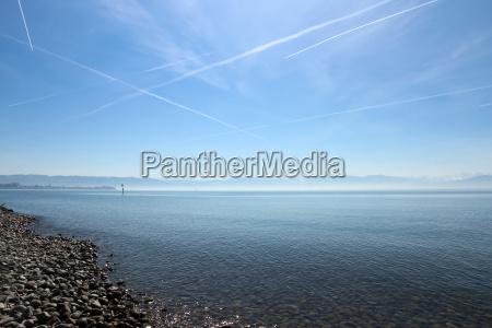 montañas, alpes, playa, la playa, orilla del mar, lago de constanza - 13984779