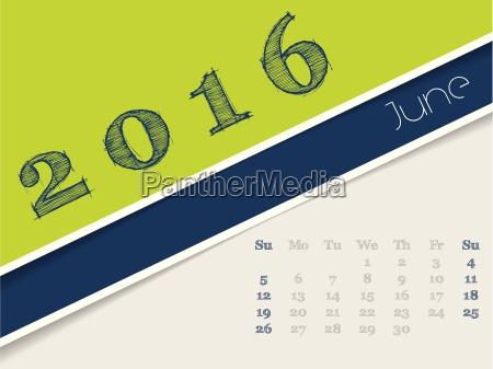 simplista disenyo calendario junio el anyo