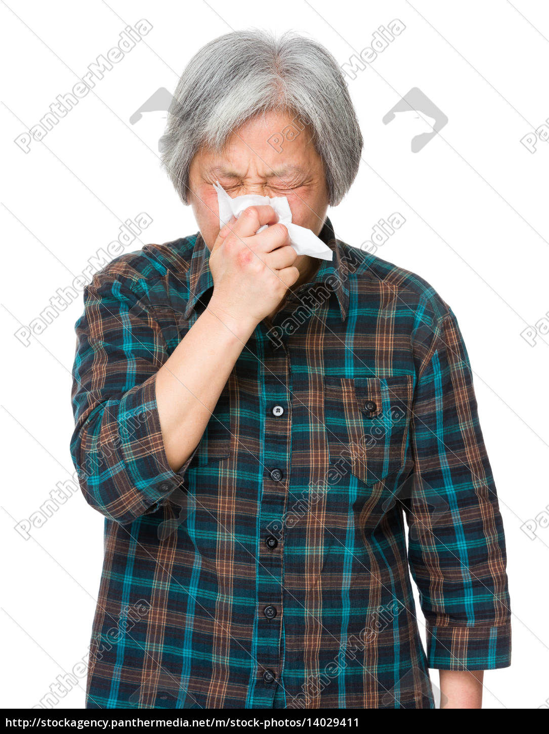 asian, old, woman, feel, sneeze - 14029411