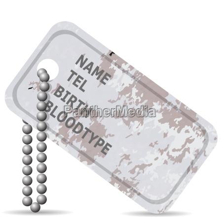placa de identificacion militar aislado en