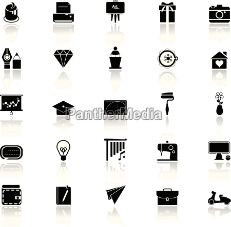 art and creation icons with reflect