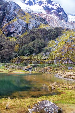 small lake and mountain in peru