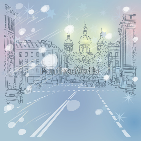 vector christmas winter cityscape avenue with