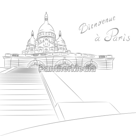 vector sketch of cityscape with sacre