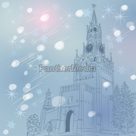 vector winter christmas cityscape of the