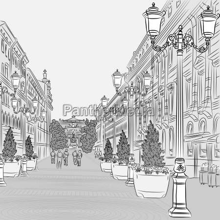 vector cityscape the wide avenue with