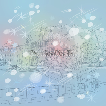 vector winter christmas cityscape with church