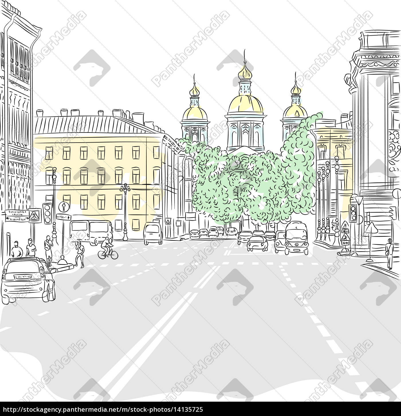 vector, cityscape, , the, wide, avenue, with - 14135725