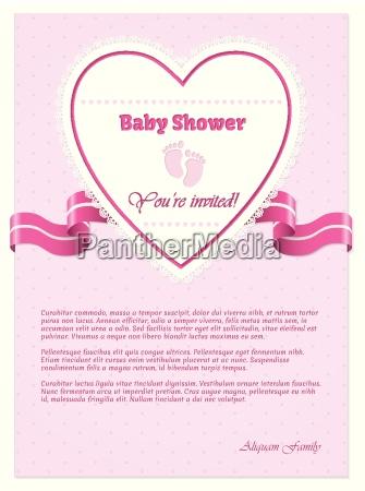 invitacion rosada de la ducha del