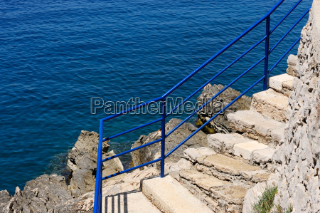 azul escalera playa la playa orilla