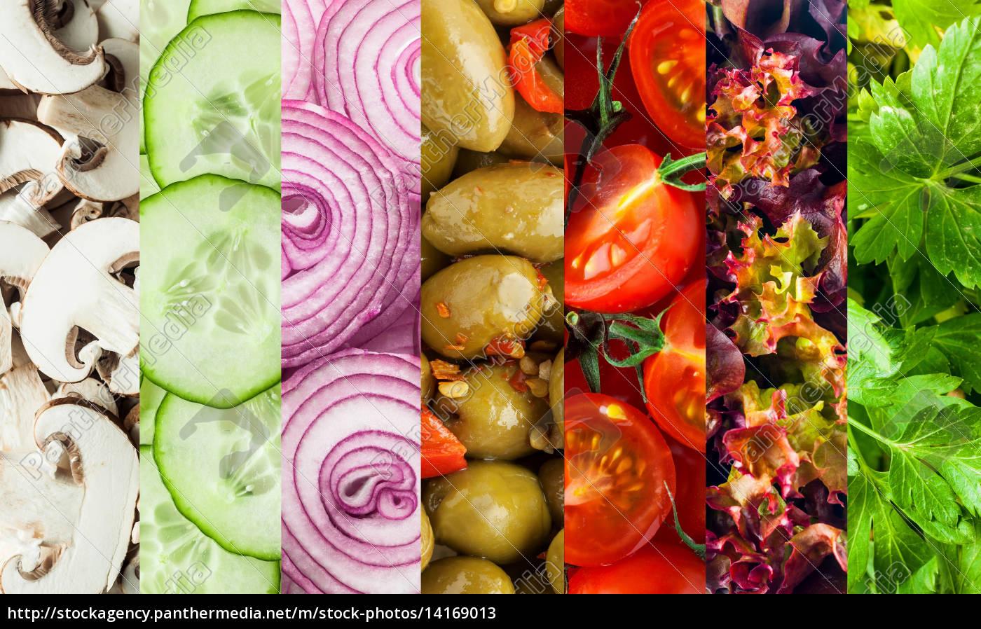 2f7db883a7ca Royalty Free Imágen 14169013 - collage de fondo de verduras frescas en dados