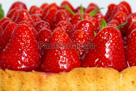 pastel de fresa con macro cierre