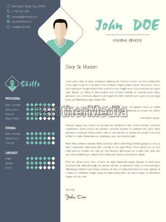 carta de presentacion moderna con elementos