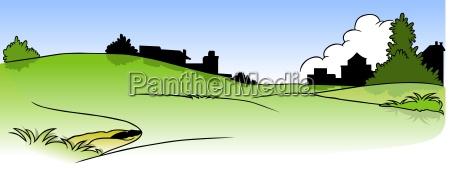 paisaje y casas silueta