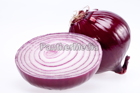 the cut red onion isolated on