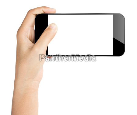 closeup hand hold smartphone isolated white