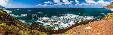 panorama view to stone coast ocean