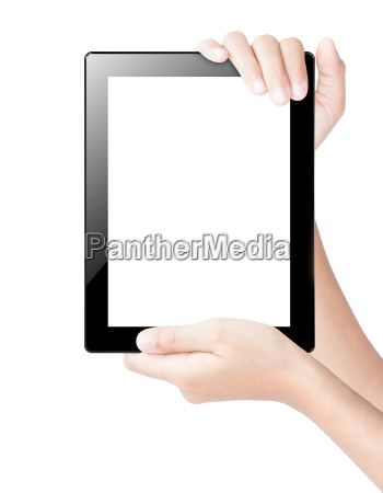 hand holding tablet digital isolated white