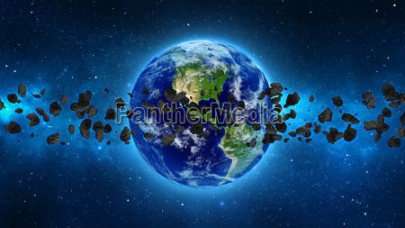 el planeta tierra con un asteroide