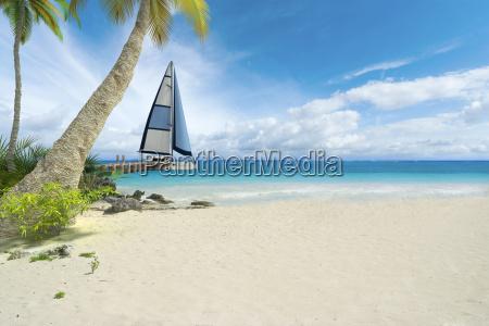 tropical beach and sailboat