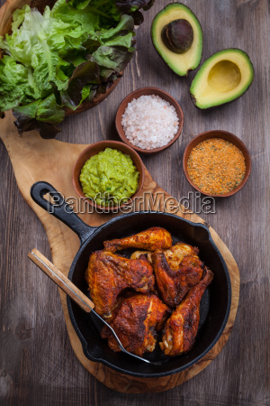 grilled chicken legs and wings with
