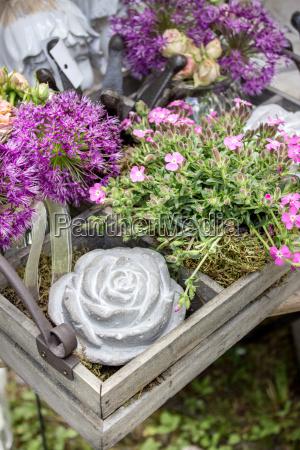 flores rosadas con decoracion de jardin