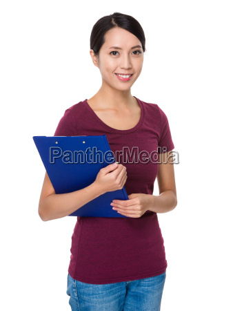 asian young woman with clipboard