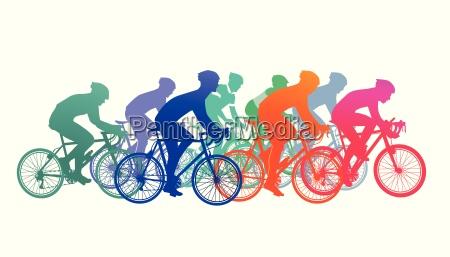 grupo de ciclistas en carrera de