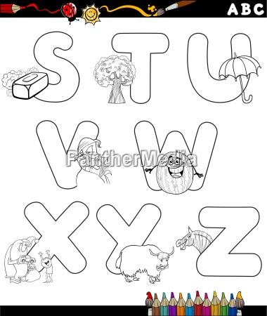 cartoon alphabet for coloring book