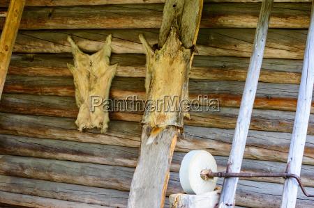 casa construccion rueda animal madera piel