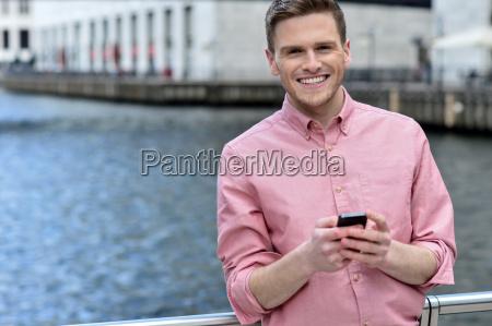 casual pose of smiling man at