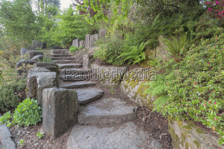 garden stair steps with natural rocks