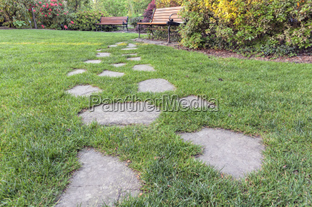 stone steps to park bench low