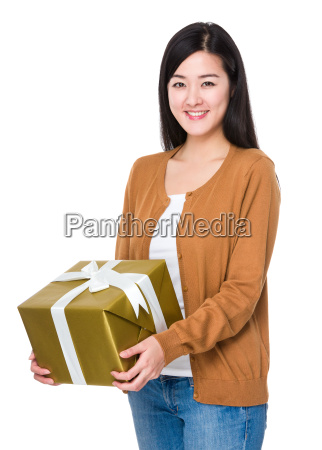 asian young woman hold with giftbox