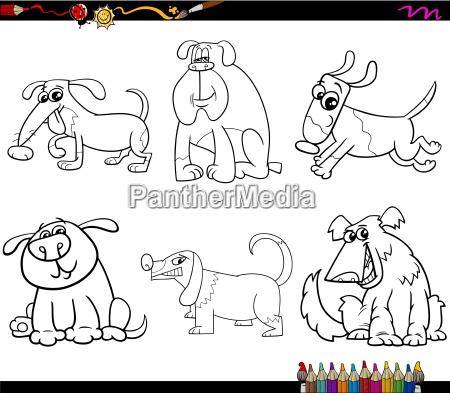 perros set dibujos animados pagina para
