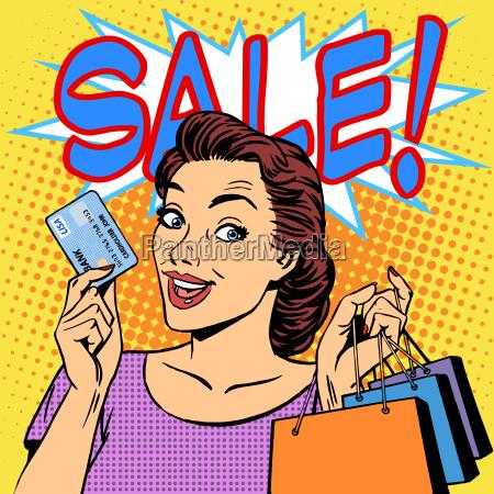 mujer compra descuentos en la venta