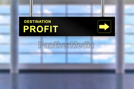 financial profit airport sign board