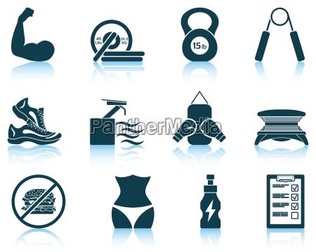 set de iconos de fitness