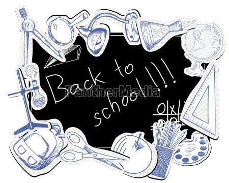 blackboard con simbolos educativos