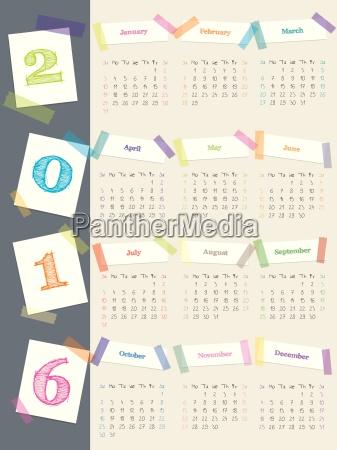calendario fresco con cintas de color