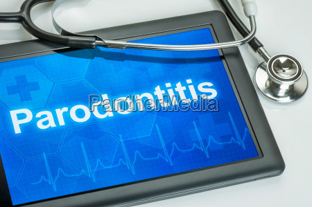tablet diagnosed with periodontitis on display
