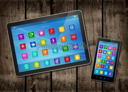 smartphone and digital tablet pc with