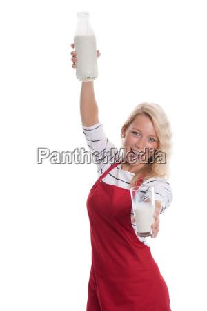 woman present indicate show presentation milk