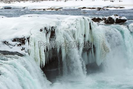 primer plano de la cascada congelada