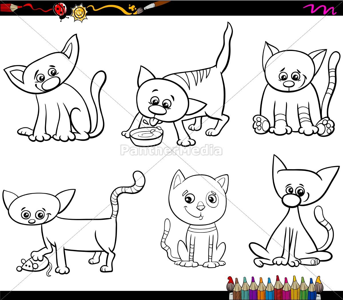 Vector Libre De Derechos 14938043 Conjunto De Gatos Dibujos Animados Para Colorear