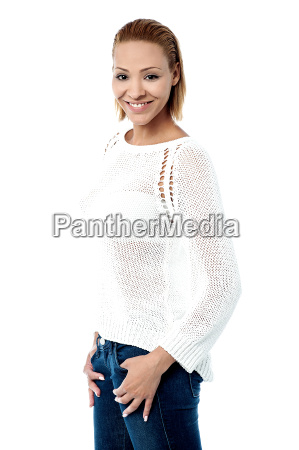 smart young woman posing stylishly